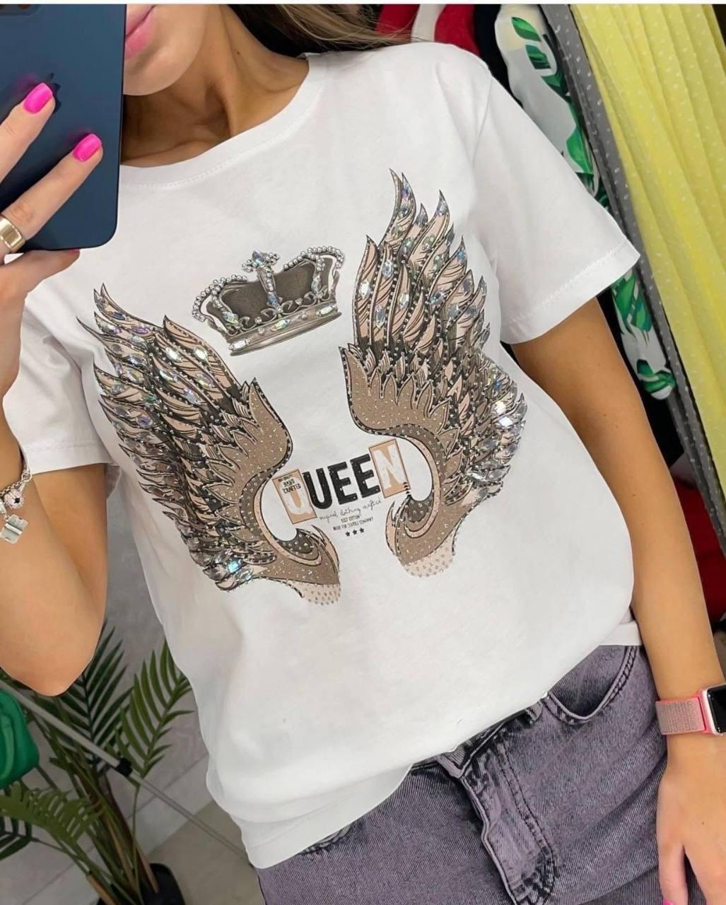 Женская футболка. Производство Турция. Размер: S, M, L. Ткань: коттон. Цвет: белый.