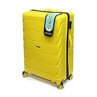 Большой пластиковый чемодан Carbon 105 л, желтый, фото 1