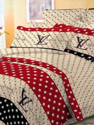 """Подарочное постельное белье хлопковое """"Луи Витон звезды"""" натуральная бязь Ранфорс Двойной размер 185х220"""