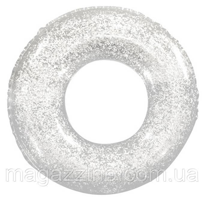 Надувний круг для плавання з блискітками, 90см., Срібло