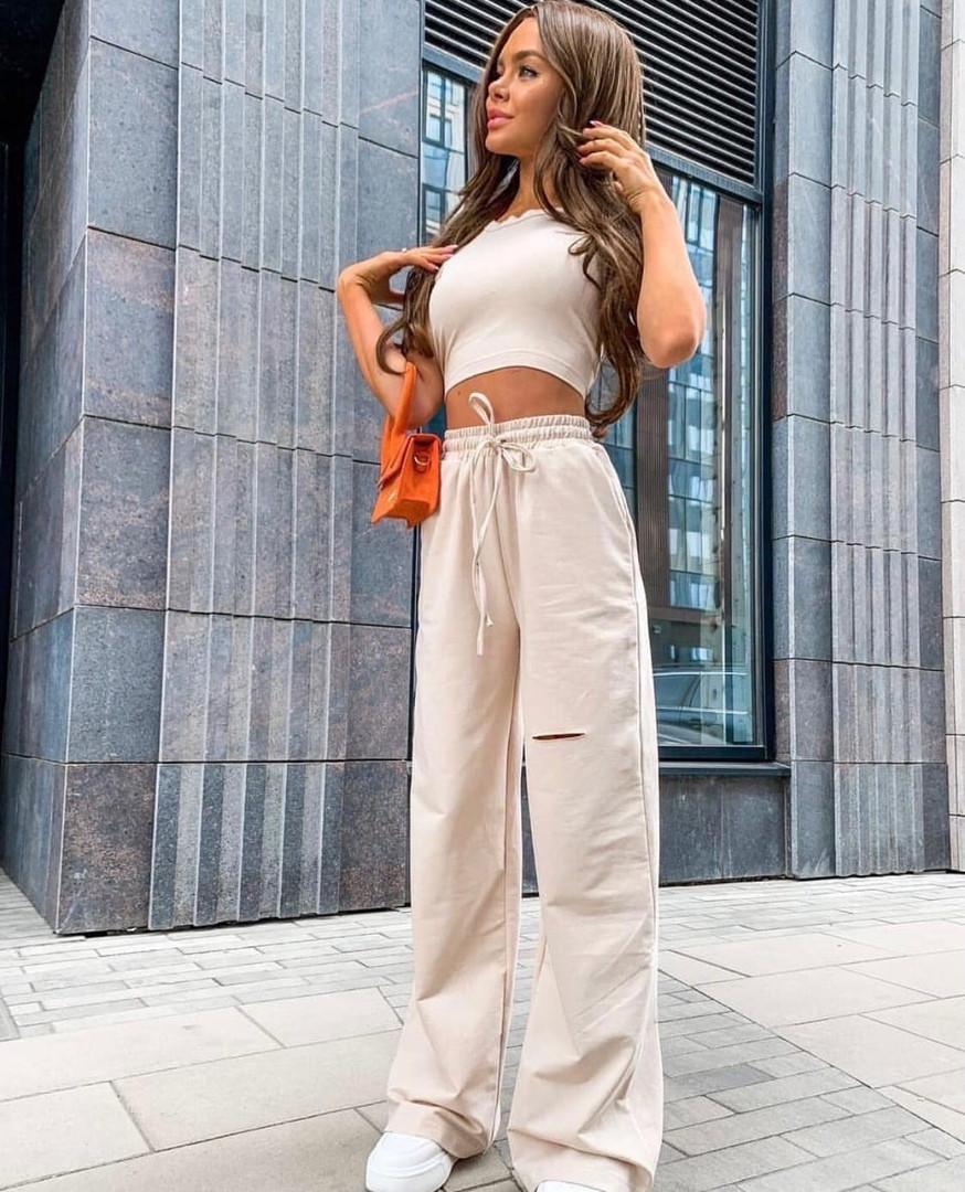 Жіночий літній костюм двійка топ+штани з розрізом