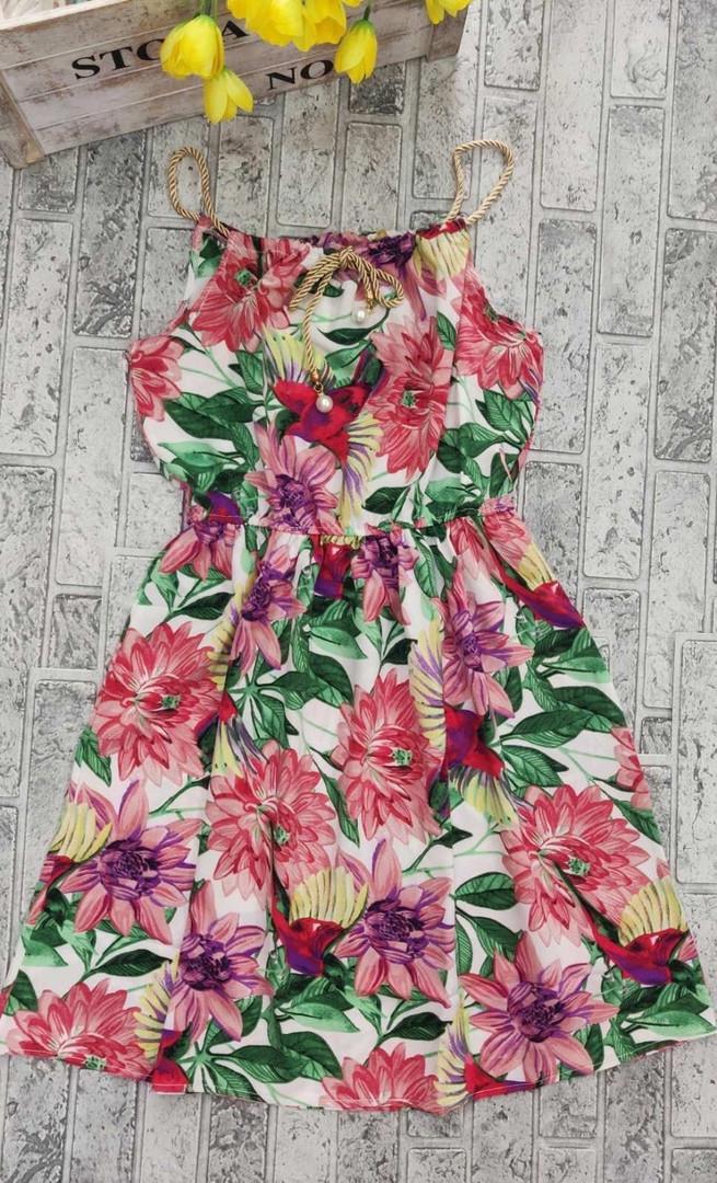 Літній короткий жіноче плаття на бретелях з принтом
