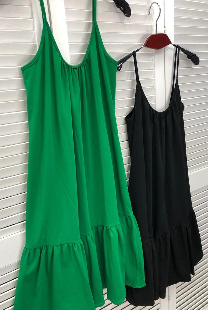 Женское летнее платье на бретелях с воланом