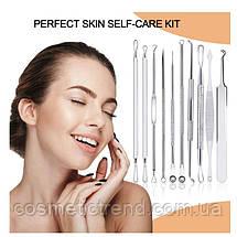 Инструменты для чистки лица удаление черных точек и прыщей косметологические (10 предметов+футляр на молнии), фото 3