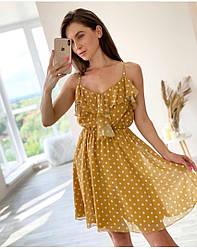 Женское летнее шифоновое платье в горох