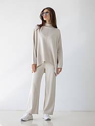 Затишний елегантний трикотажний жіночий костюм вільного крою в 5 кольорах в універсальному розмірі
