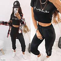Спортивный костюм женский молодежный укороченная футболка топ с штанами р-ры 42-46 арт.140