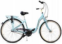 Велосипед жіночий міський Cossack 28 Nexus-3 алюмінієвий sky blue з кошиком Польща