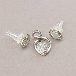 Сережки+Кулон ювелирная бижутерия XUPING  Фіаніт (родій)