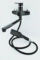 Смеситель из термопласта с длинным гусаком в ванную Plamix Oscar 006-3 Black NEW