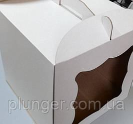 Коробка картонная для торта белая, 25 см х 25 см х 20 см, микрогофрокартон (25Т) фигурное