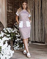 Літнє батальна плаття в смужку з кишенями, фото 1