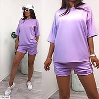Прогулочный костюм женский спортивный однотонный шорты с удлиненной футболкой  р-ры 42-48 арт. 1049