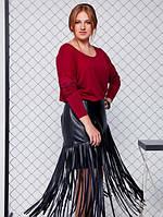 Кожаная юбка Маура р. 52,54,56,58 черная, зеленая, фото 1
