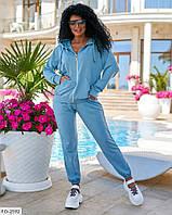 Спортивный костюм женский модный молодежный двунить пенье кофта с капюшоном и штаны р-ры  42-48 арт. 818