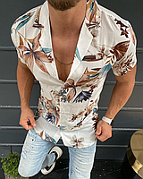 Стильная мужская рубашка на лето с цветочным принтом | Турция | 100% вискоза