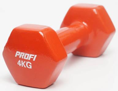Гантель 4 кг Profi с виниловым покрытием (Красная) 1шт.
