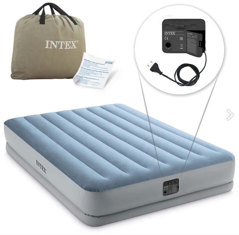 Надувная кровать Intex 64168 двуспальная 203х152х36 см с электро-насосом