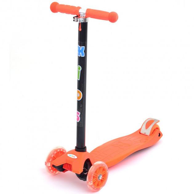 Трехколесный самокат 4Kids Maxi светятся колеса, оранжевый