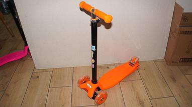 Трехколесный самокат 4Kids Maxi светятся колеса, оранжевый, фото 2