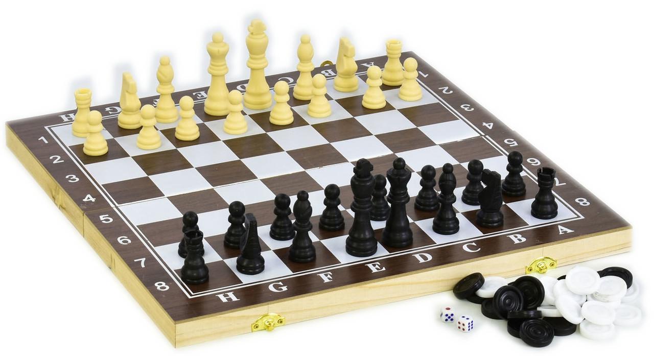 Шахматы / Шашки / Нарды 34х34 см. Дерево, пластик