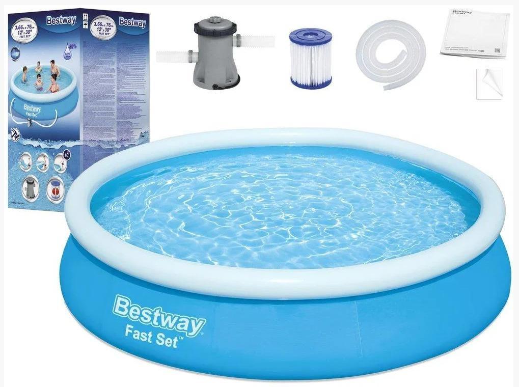 Надувной круглый бассейн Bestway 57274 (366x76 см) с картриджным фильтром