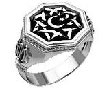 Перстень мужской серебряный Полумесяц и Всевышний Аллах  30380, фото 3