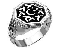 Перстень серебряный Полумесяц и Всевышний Аллах  30380