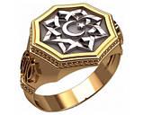 Перстень мужской серебряный Полумесяц и Всевышний Аллах  30380, фото 4