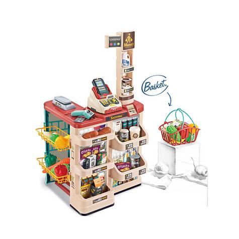 Детский игровой супермаркет с корзиной и продуктами