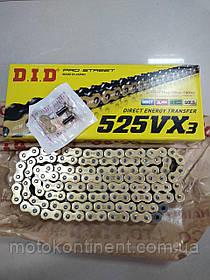 Мото цепь  DID525VX3 118 звеньев G&B черно - золотая  для мотоцикла DID 525VX3 G&B - 118ZB