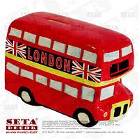 """Копилка """"Английский двухэтажный автобус"""" (doubledecker) керамика"""