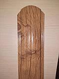 Штахетник металлические 105 мм Золотой дуб 3Д закругленными (евроштахетник под дерево), фото 4