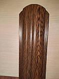 Штахетник металлические 105 мм Золотой дуб 3Д закругленными (евроштахетник под дерево), фото 5