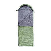 Спальний мішок-ковдра з капюшоном WORLD SPORT Спальник похідний туристичний Зелений-чорний (S1004-GR)