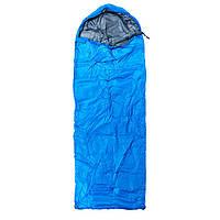 Спальний мішок-ковдра з капюшоном WORLD SPORT Спальник похідний туристичний Синій(S1004-BL)