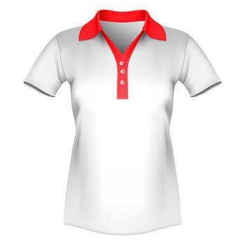 Женская футболка поло для сублимации, белый/красный