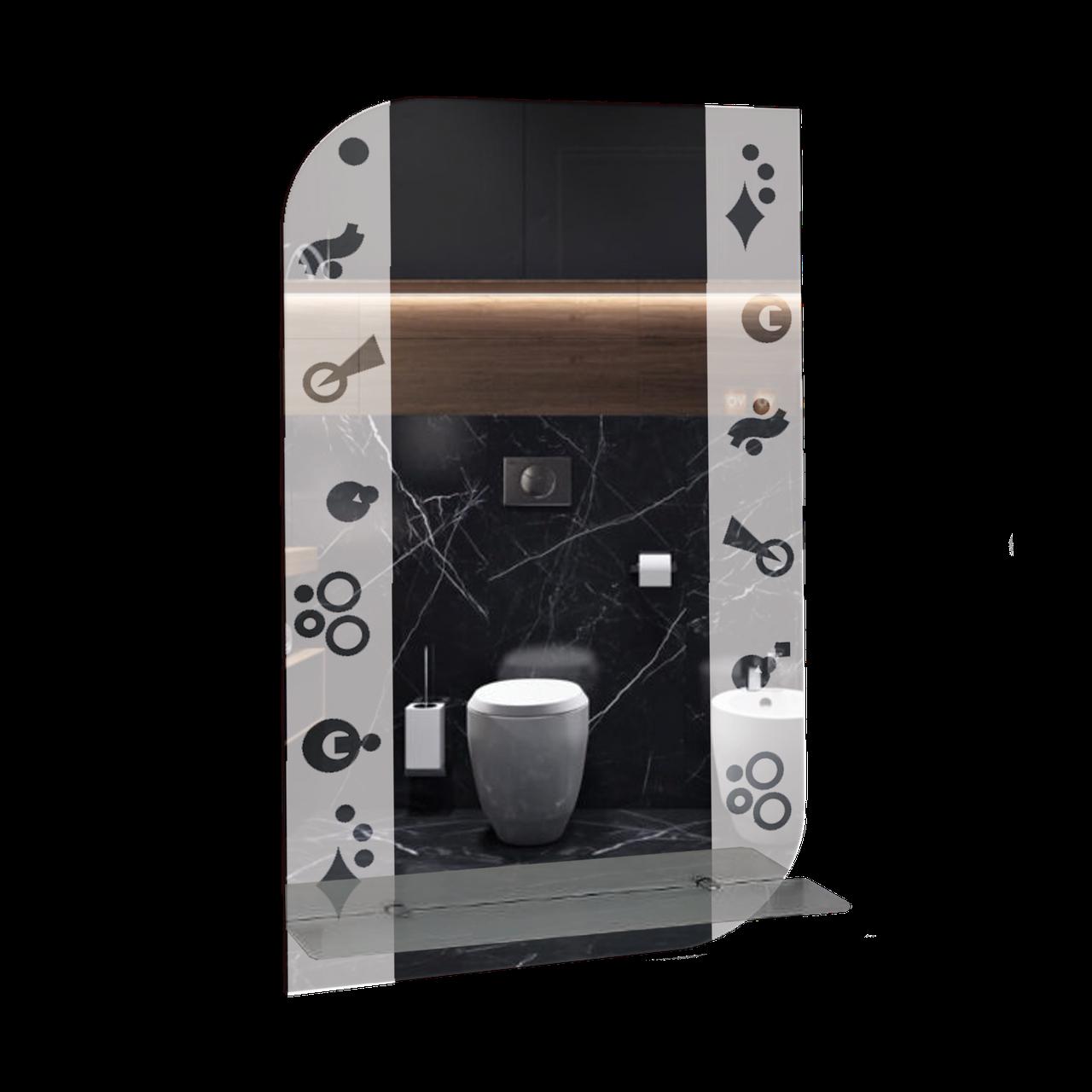 Зеркало для ванной комнаты 400х700 Ф304 с полкой