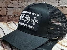 Чоловіча жіноча бейсболка кепка з сіткою чорна