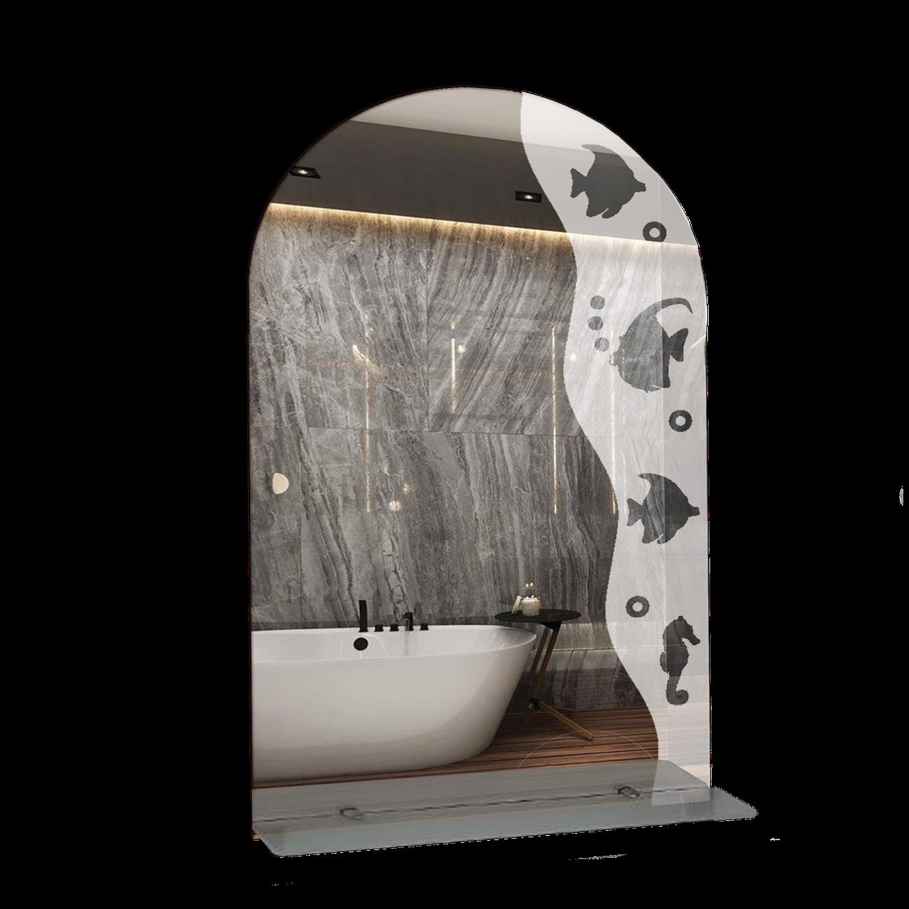 Зеркало для ванной комнаты 500х800 Ф318 с полкой