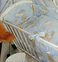 """Бортики (35 см) со съёмными чехлами (на молнии) на  все стороны детской кровати """"Мишки на луне"""""""