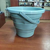 Відро 10 літрів туристичне складне Collapsible Bucket Бірюзовий, фото 1