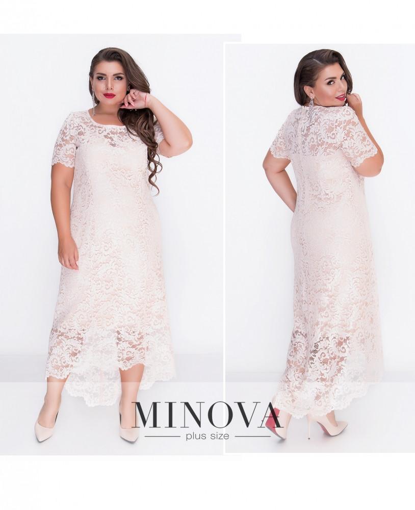 Ніжне і романтичне мереживне приталене молочне плаття великого розміру. розмір: 50, 52, 54, 56, 58