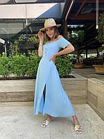 Літнє жіноче плаття максі з розрізом, фото 1