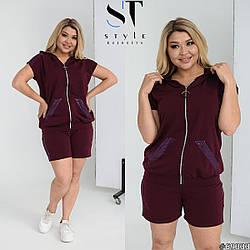 Оригинальный бордовый спортивный костюм с шортами и кофтой большого размера. размер :  48-50, 52-54