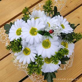Букет польових квітів, Букет з мила ручної роботи, Букет ромашок з мила