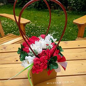 Букет з мила ручної роботи, мильний букет айстр,  композиція квітів з мила