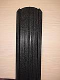 Євроштахети 105 мм матовий коричневий 8019, 8017 мат двох сторонній (металеві штахети для паркану ), фото 3