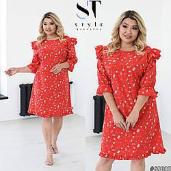 Легкое женское летнее красное платье большого размера. Размер: 48-50 (52-54) (56-58)