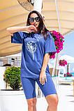 Женский летний костюм двойка велосипедки шорты+футболка размер универсальный 48-54, фото 4
